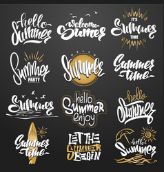 summer hand drawn gold lettering elements set vector image