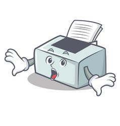 Surprised printer mascot cartoon style vector