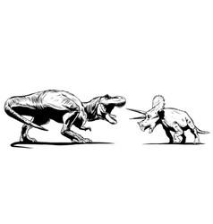 T rex versus triceratops vector