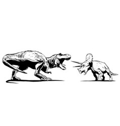 T rex versus triceratops with a vector