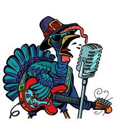 Thanksgiving turkey character singer isolate on vector