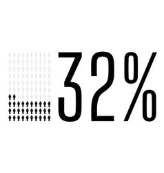 Thirty two percent people chart graphic 32 vector