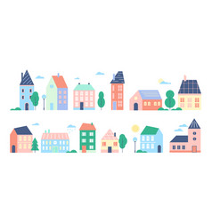 Town or city houses set vector