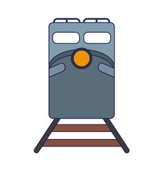 Train on rails frontview vector