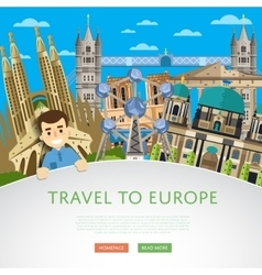 Travel to Europ template with famous attractions vector image