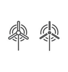 Wind generator line and glyph icon ecology and vector