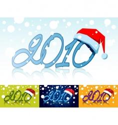 Year with Santa's cap vector