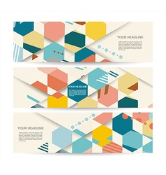 banners with abstract vintage polygonal hexagon vector image vector image