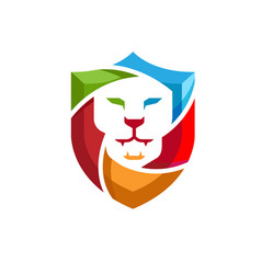 creative abstract colorful lion shield logo vector image