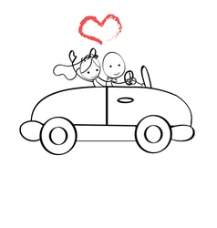 Doodle The bride and groom riding vector image vector image
