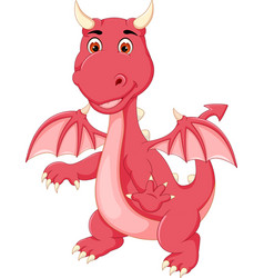 cute little dragon standing with smile and waving vector image