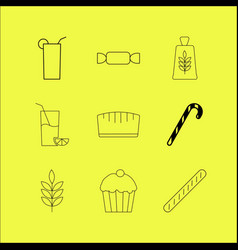 food and drink linear icon set vector image