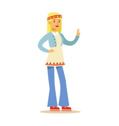 Girl hippie dressed in classic woodstock sixties vector