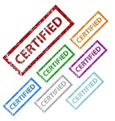 Grunge certified stamp set vector image