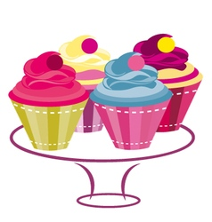 cupcakes colored 3 vector image