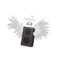flat loudspeaker with angel wings icon vector image