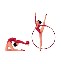 two rhythmic gymnasts in leotards exercising with vector image vector image