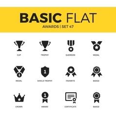 Basic set of Awards icons vector image vector image