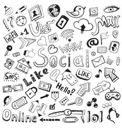 hand drawn icons big set of modern social doodles vector image