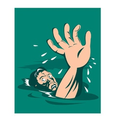 Man reaching for help drowning vector