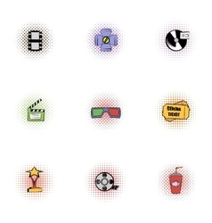 Movie theater icons set pop-art style vector image vector image