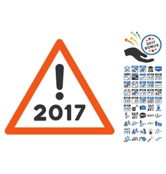 2017 Warning Icon With 2017 Year Bonus Pictograms vector image
