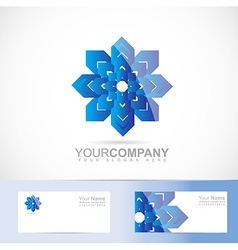 Abstract blue flower logo vector image