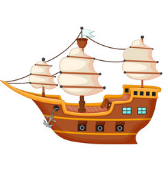 antique yacht cartoon vector image