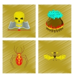 Assembly flat shading style icon book skull potion vector