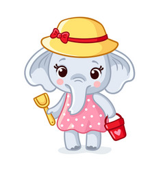 Baelephant in a hat is holding a scoop and a vector