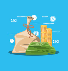 bag money with bill dollar and set icons vector image