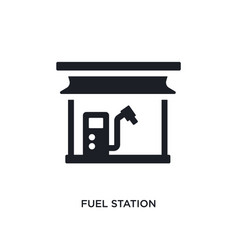 Black fuel station isolated icon simple element vector