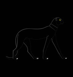 black panther on a black background in egyptian vector image