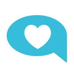 blue color silhouette of speech bubble with heart vector image