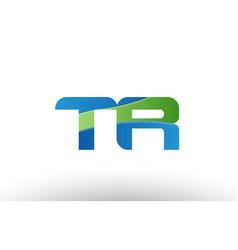 blue green tr t r alphabet letter logo vector image