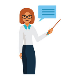 business woman teacher standing with pointer vector image
