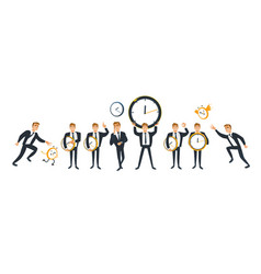 businessman and time set with adult office worker vector image