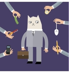 Businessman doing grumpy cat face vector