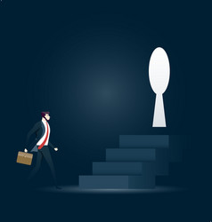 businessman walking towards keyhole in challenge vector image