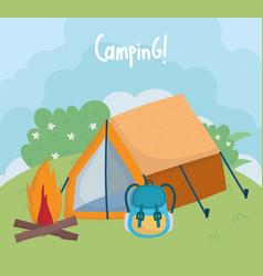 camping tent rucksack bonfire bushes foliage grass vector image