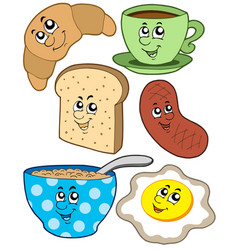 cartoon breakfast collection vector image