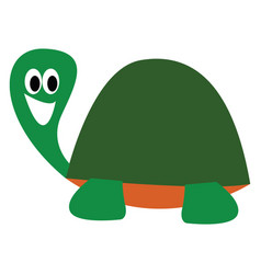 Cartoon picture a laughing turtle over white vector