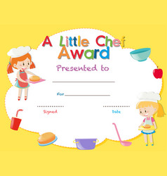 Certificate template with kids cooking vector