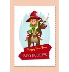 Christmas Elf Card vector image