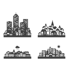 city set black icons signs and symbols vector image