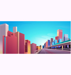 city street buildings skyline view vector image