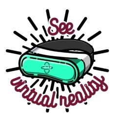 Color vintage Virtual Reality emblem vector image