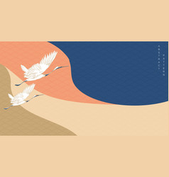 crane birds with curve banner japanese wave vector image