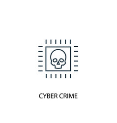 cyber crime concept line icon simple element vector image