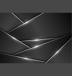 Dark grey metallic polygonal pattern silver line vector